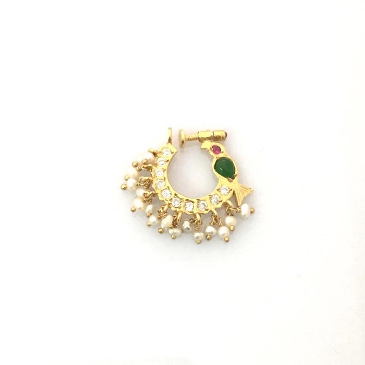 92.5 Silver Jewellery Nath Non Pierced Nose NPNS1442021