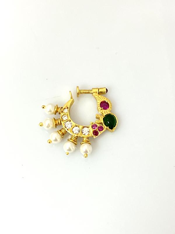 92.5 Silver Jewellery Nath Non Pierced Nose NPNS1500002